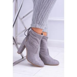 Šedé kotníkové boty dámské s vázáním
