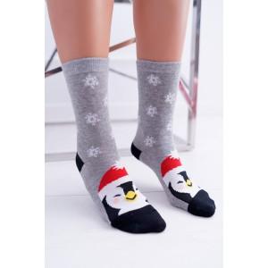 Vánoční dámské ponožky s motivem tučňáka
