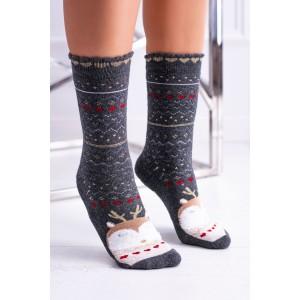 Vánoční ponožky v šedé barvě se vzorem sovičky