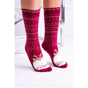 Červené dámské ponožky s vánočním motivem sovy