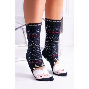 Modré dámské vánoční ponožky s pohádkovým motivem