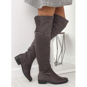 Stylové dámské kozačky nad kolena s ozdobným zadním zipem a přezkou