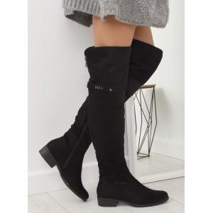 Trendy dámské černé kozačky na nízkém podpatku s ozdobným zipem