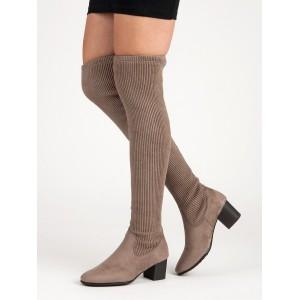 Originální dámské semišové béžové kozačky nad kolena