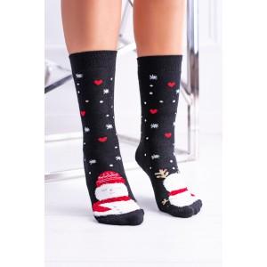 Černé ponožky s motivem srdíček na vánoce
