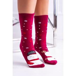 Vánoční dámské ponožky v červené barvě se sněhulákem