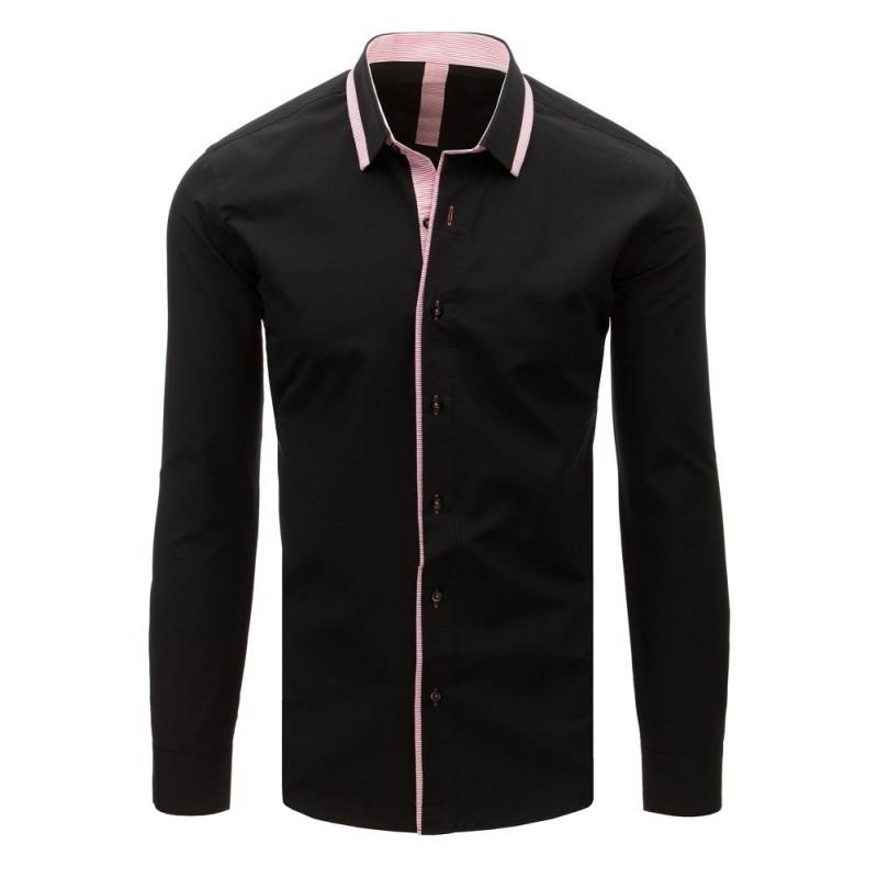 Luxusní černá pánská košile s dlouhým rukávem 7f621b6dba