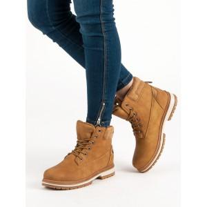 Dámské boty workery světle hnědé barvy
