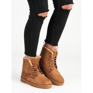 Hnědé dámské worker boty na zimu