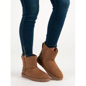 Zimní boty dámské sněhule hnědé barvy