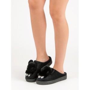 Černé dámské teplé pantofle s motivem zvířátka