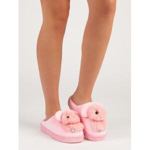 Růžové nasouvací dámské pantofle na platformě s motivem zvířátka