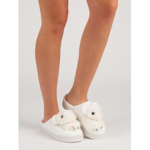 Bílé teplé dámské nasouvací pantofle na platformě s dětským motivem