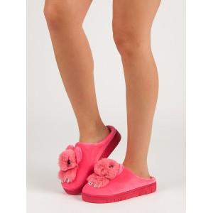 Originální dámské tmavě růžové pantofle na platformě s motivem zvířatka