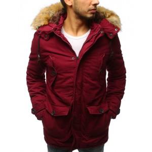 Stylová pánská zimní bunda vínové barvy