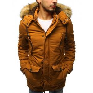 Moderní pánská bunda na zimu hořčicové barvy