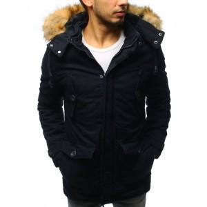 Tmavě modrá elegantní bunda na zimu pro pány