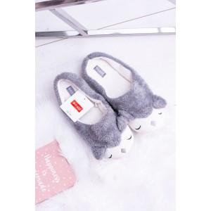 Teplé dámské pantofle s motivem zvířátka v šedé barvě