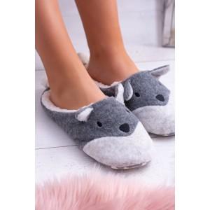 Komfortní dámské šedé pantofle s trendy motivem pejska s ocáskem