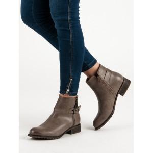 Dámské kotníkové hnědé boty na nízkém podpatku s ozdobným zipem