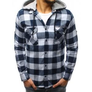 Moderní bílo modrá pánská košile s odnímatelnou kapucí a kapsami
