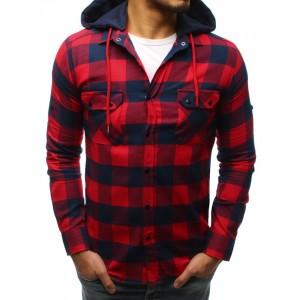 Modro červená károvaná pánská košile s kapucí a zapínáním na druky