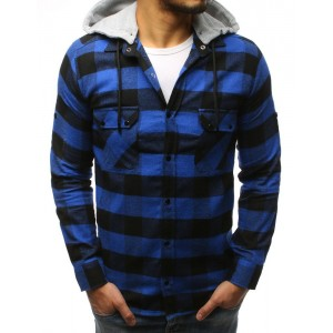 Stylová pánská modrá károvaná košile s odnímatelnou šedou kapucí