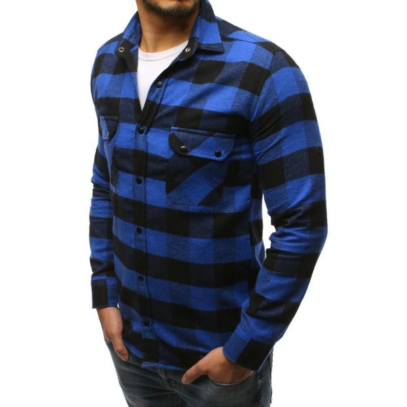 9a334fe557 Stylová pánská modrá károvaná košile s odnímatelnou šedou kapucí