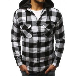 Moderní černo-bílá pánská košile s odnímatelnou kapucí a kapsami