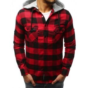 Červená pánská kostkovaná košile na druky s odnímatelnou kapucí