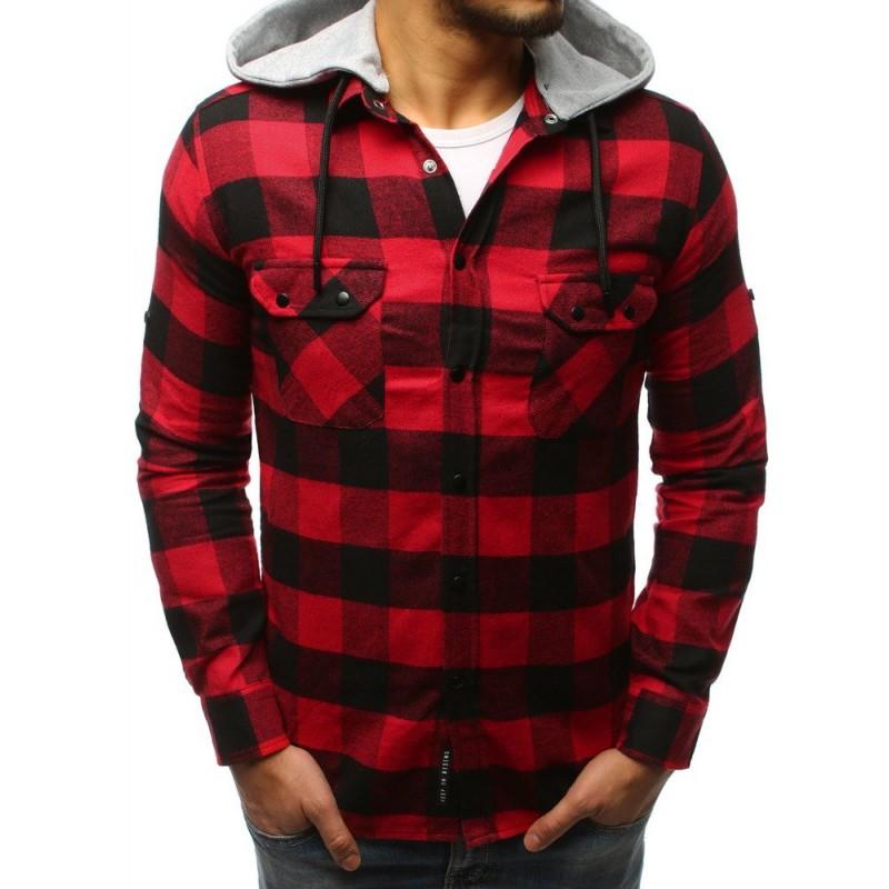 Červená pánská kostkovaná košile na druky s odnímatelnou kapucí eed876a3e4