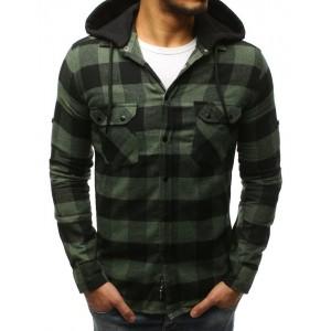 Pánská károvaná košile zelené barvy s odnínateľnou kapucí