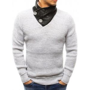 Hrubý pánský pletený svetr bílé barvy