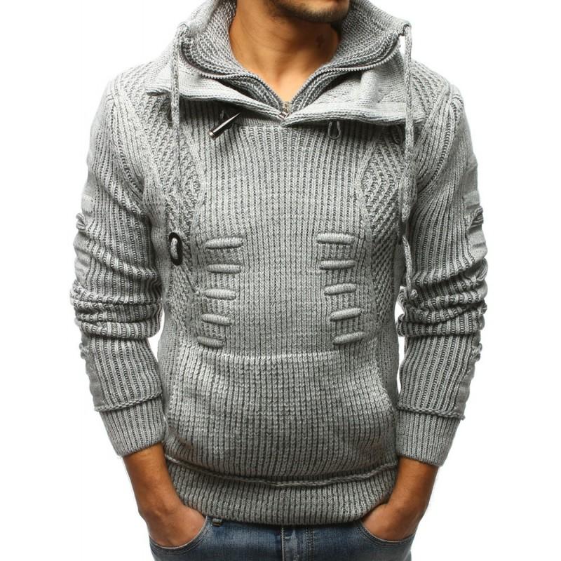 1ab4e64107da Šedý pánský pletený svetr na zimu