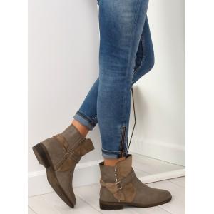 Dámské zimní boty na nízkém podpatku v hnědé barvě