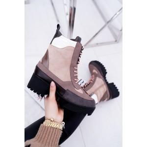 Vysoké dámské zimní boty v béžové barvě na šněrování