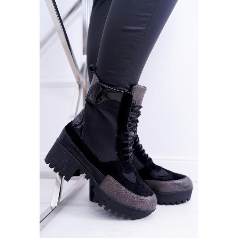 6a171da81d97 Zateplené dámské černé boty na vysoké podrážce v černé barvě