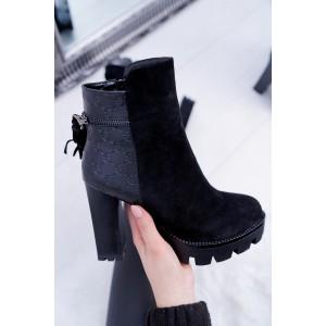 Dámské semišové zimní boty na vysokém podpatku v černé barvě