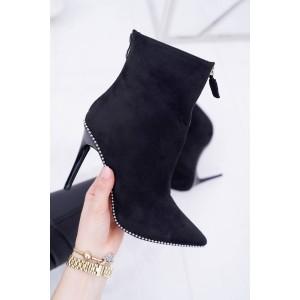 Dámské semišové černé boty se zapínáním na zip