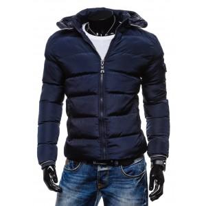 Modré pánské bundy na zimu s kapucí
