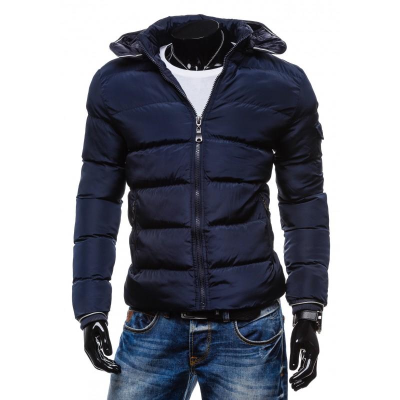 Modré pánské bundy na zimu s kapucí - manozo.cz 01f6cb85f41