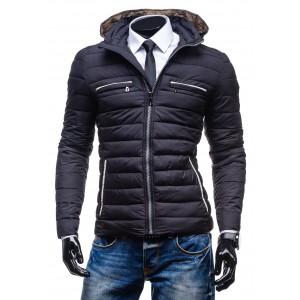 Černá pánská zimní bunda s bilým lemováním