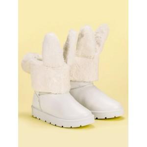 Bílé dámské sněhule s odnímatelnou kožešinou s designem zajíce
