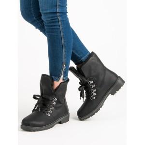 Dámské černé kotníkové boty na zimu ve stylu worker