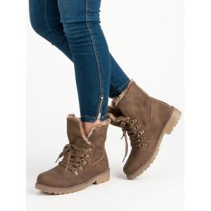 Hnedé členkové topánky s kožušinou s originálnym šnurovaním