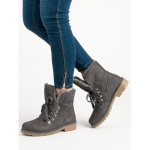 Stylové dámské šedé kotníkové boty s kožešinou a módním šněrováním
