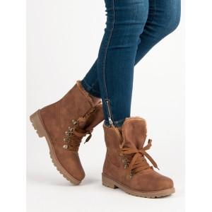 Dámské zimní skořicové kotníkové boty na šněrování s kožešinou