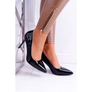 Černé dámské lakované lodičky se špičkou a na vysokém podpatku