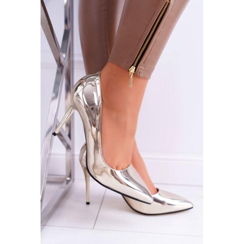Společenské dámské zlaté zrcadlové lodičky na vysokém podpatku aa7e25f82f