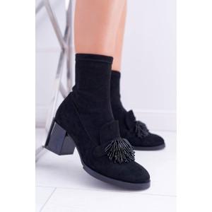 Originální dámské černé boty na boční zip a korálkovou aplikací